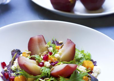 Poached pear and butternut squash salad